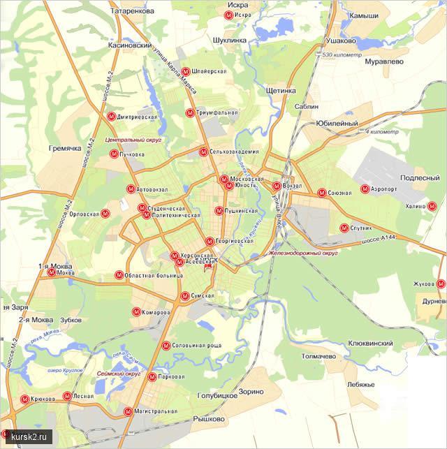 курское метро на карте города.